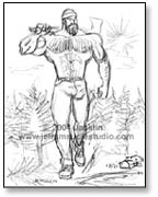 """Paul Bunyan walking with tree over shoulder"""