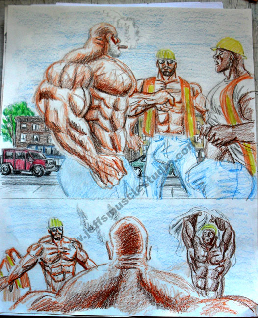 Above: A series of commissioned drawings of a massive muscle battle ...: www.jeffsmusclestudio.com/studio.html