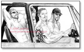 4 muscular, shirtless tattoed dudes in a jeep, looking at viewer
