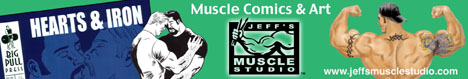 Jeff's Muscle Studio banner ad with comic book cover