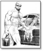 muscled man in cut offs washing car