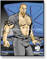 Muscular, goateed auto mechanic