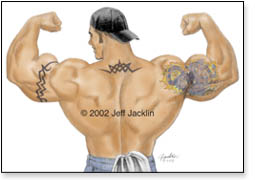 Tattooed muscleman in back double bicep pose