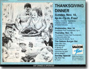 Saloon Thanksgiving ad art