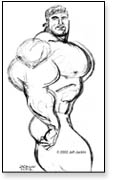 Quick sketch of freakishly huge bodybuilder in do rag