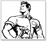 Stylized black and white drwaing of muscled blue collar worker with wrench